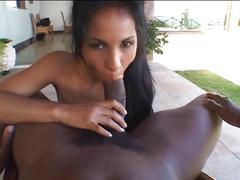 Exotic slut gives black stud bj