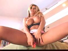 Blonde masturbates in nylons