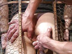 Master fucks his caged slave