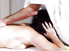 massage, babe, blowjob, busty, oiled, natural tits, black hair, dirty masseur, brazzers network, emma leigh, danny d