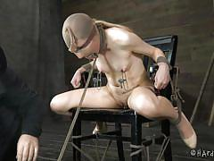 small tits, milf, blonde, bdsm, blindfolded, suffocation, clamps, executor, tied on chair, tongue torture, hard tied, emma haize, matt williams