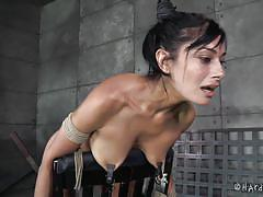 milf, bdsm, round ass, vibrator, brunette, anal insertion, on chair, stick with dildo, anal hook, hard tied, beretta james, jack hammer