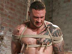 Muscular slave gets his cock slapped