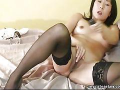 small tits, milf, asian, solo, stockings, mastrubation, dark hair, my cute asian