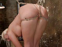 milf, blonde, bondage, bdsm, big ass, big tits, dildo, oiled, ball gag, stick with dildo, hogtied, kink, leya falcon