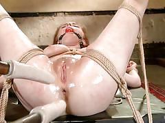 milf, blonde, bondage, bdsm, double penetration, oiled, tied up, anal insertion, ropes, ball gag, stick with dildo, hogtied, kink, penny pax