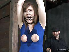milf, bondage, pussy rubbing, brown hair, mouth opened, blue dress, infernal restraints, maddy o'reilly