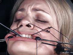 milf, blonde, bdsm, whipping, shackles, restraints, face torture, immobilized, infernal restraints, winnie rider