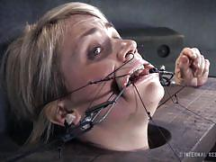 milf, blonde, bdsm, whipping, shackles, restraints, face torture, immobilized, infernal restraints, winnie rider