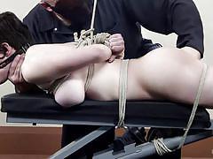milf, bdsm, big boobs, brunette, tied up, gym, ropes, clothespins, hogtied, kink, sgt. major, iona grace