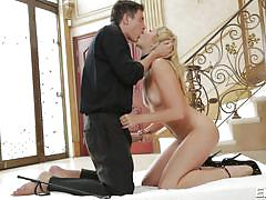 Blonde slut is lightly choked and whipped