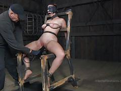 milf, bdsm, dildo, collar, bondage device, squeezed tits, pussy pierce, immobilized, infernal restraints, bella rossi