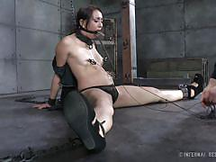 milf, bdsm, brunette, electric, tied up, collar, clamps, mouth gagged, immobilized, infernal restraints, mandy muse