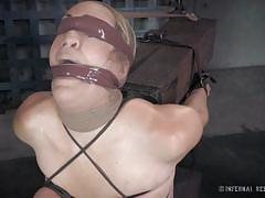 milf, blonde, bdsm, blindfolded, basement, clamps, squeezed tits, mouth gagged, restraints, infernal restraints, winnie rider, matt williams