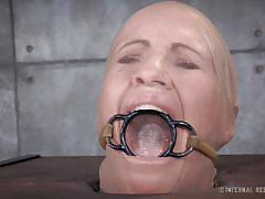 milf, blonde, bondage, bdsm, nylon, mouth opened, clamps, shackles, restraints, tongue torture, infernal restraints, matt williams, simone sonay