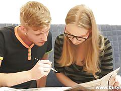 blonde, babe, russian, glasses, nerdy, undressing, pussy eating, studying, she is nerdy, alice xxx, edward x