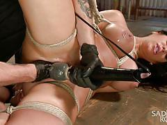 milf, hanging, busty, vibrator, brunette, tied up, latex gloves, pussy fisting, rope bondage, sadistic rope, kink, alexa pierce