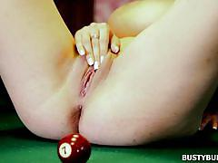 babe, solo, masturbation, huge tits, brunette, natural tits, snooker, billiard cue, busty buffy, busty buffy