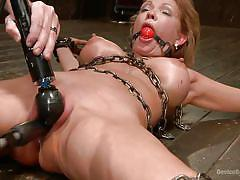 milf, tattoo, blonde, bdsm, big tits, vibrator, suspended, chains, bondage device, ball gag, device bondage, kink, rain degrey