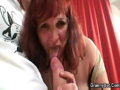 Redhead mature lady doing blowjob and fucking