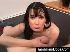 Brunette psycho babe gives boyfriend a rough punishment