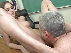 Sexy student macy wislett lets her teacher have his way