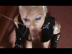 Kinky slut wearing black latex sucks and fucks - pov porn
