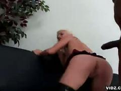Blonde bitch loves black cocks in her asshole