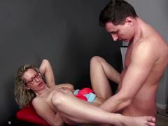 Amateur busty milf seducing young client