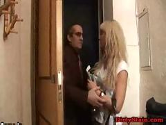 Cute blonde fucked by old guy