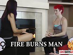 amateur, lostbetgames.com, red head, brunette, strip game, small tits, petite, shaved pussy, sybian, orgasm