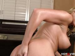 Blonde gets ass and pussy fucked with hotgvibe