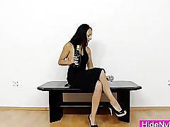 Slender teen hiding nylon nylons in her muff