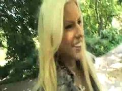 Sexy blond in public