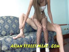 Thai fishnet sodded up her little ass hole