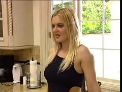 Hot blonde get ass filled in kitchen