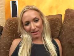 Hot blonde works on big cock
