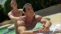 Two horny gay boys have sex by the pool