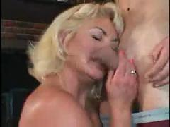 Old blonde slut sucks and rides him