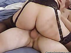 Busty milf serena sucking her boyfriend and riding on cock