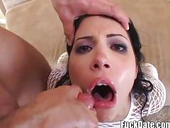 Super hot brunette amateur takes two big cocks at the same time
