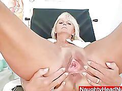 mature, fetish, naughtyheadnurse.com, uniform, milf, granny, old, nurse, masturbating, teasing, shaved pussy, heels, dildo