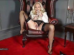 Posh milf leggy lana teases in sheer nylons and fucks pussy with glass toy