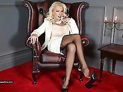 erotic, leggylana.com, blonde, nylons, heels, glamour, teasing, masturbating, dildo, shaved pussy, solo