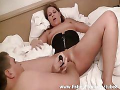 fetish, amateur, fistingflics.com, brunette, extreme, shaved pussy, fisting, corset, milf, natural tits, homemade