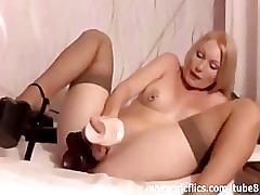 fetish, anal, sicflics.com, blonde, fisting ass, big tits, milf, pierced nipples, pierced pussy, stockings, heels, masturbating, dildo
