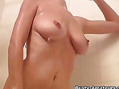 amateur, busty amateurs.com, bath, blonde, big tits, teasing, masturbating, trimmed pussy, orgasm, solo