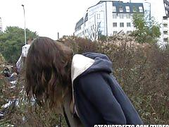 teen, czechstreets.com, brunette, picked up, flashing, big tits, pov, sucking dick, stroking, shaved pussy