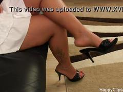 Sabrina slipper dangling foot fetish video