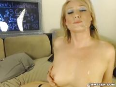 Sexy blonde milf camgirl fucks her boyfriend on camster.com